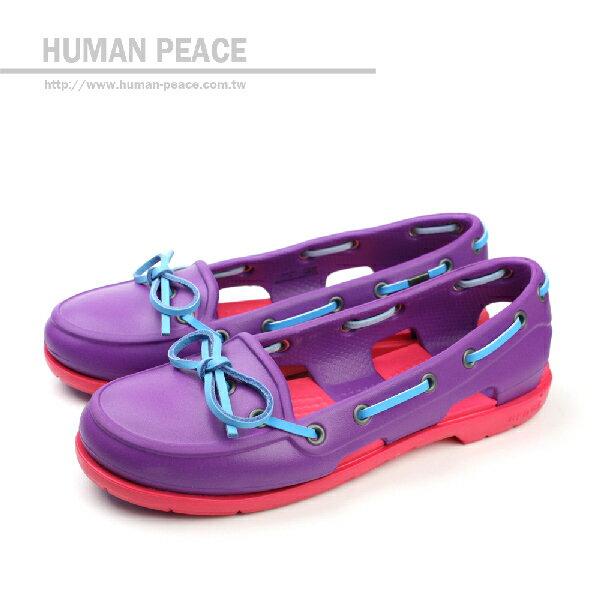 Crocs 清涼 透氣 舒適 防水 好穿脫 帆船型 戶外休閒鞋 紫 女款 no216