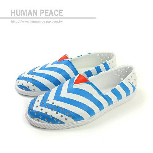 native VERONA 海洋風 透氣 舒適 輕量 懶人鞋 洞洞鞋 戶外休閒鞋 白/藍 男女款 no186