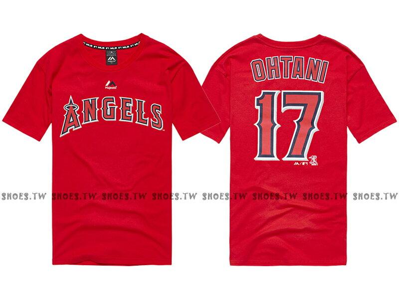 Shoestw【6760217-150】MLB 美國大聯盟 MAJESTIC 短袖 棉 T恤 洛杉磯 天使隊 LOGO 大谷翔平 OHTANI 背號T 紅色 0