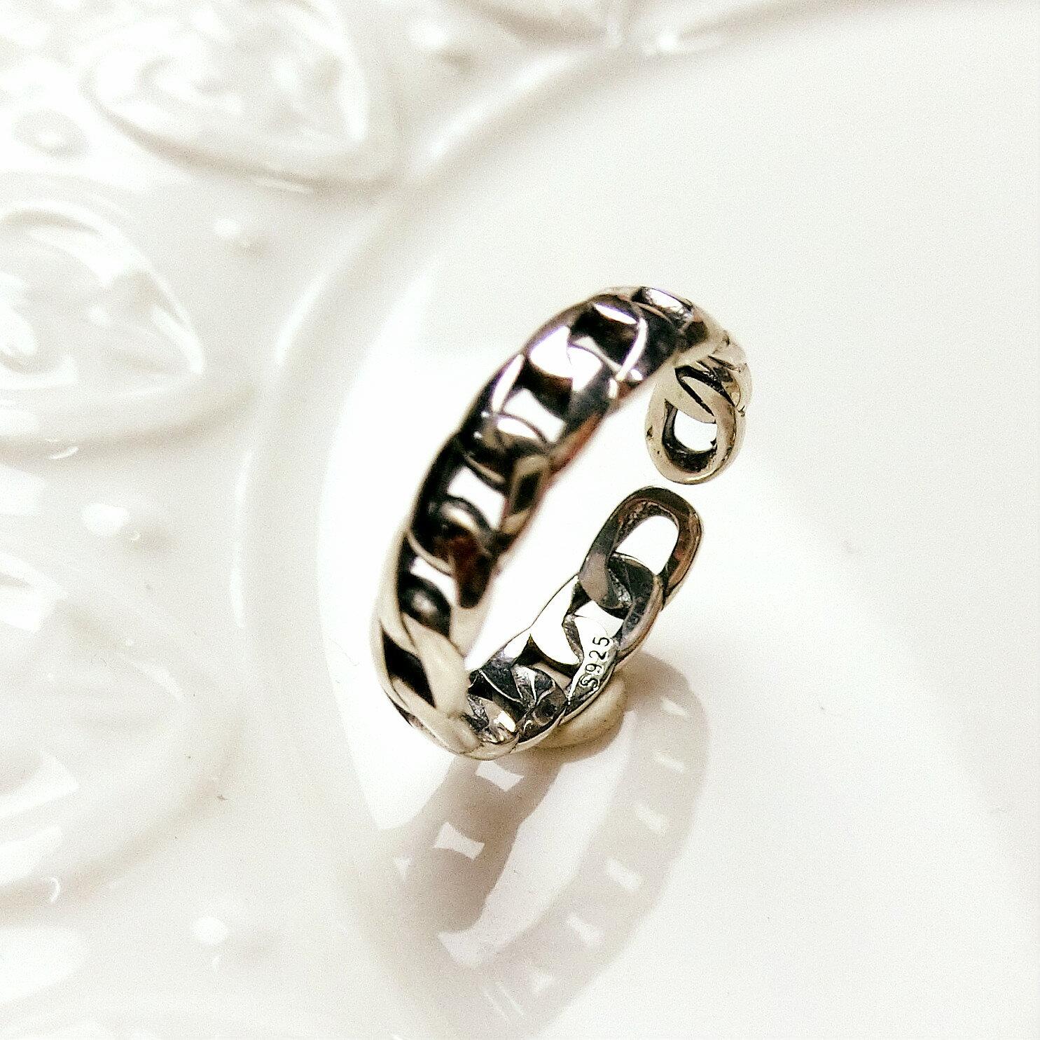 Tokyo Alice 925純銀鍊條開口戒指,戒指飾品首飾銀飾甜美(sr0000014)