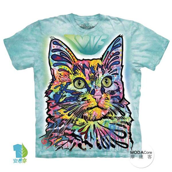 【摩達客】(預購)美國進口TheMountain彩繪安哥拉貓純棉環保藝術中性短袖T恤