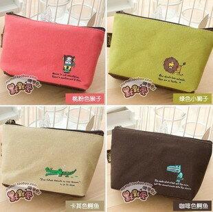 韓版動物加厚帆布零錢包-咖啡色