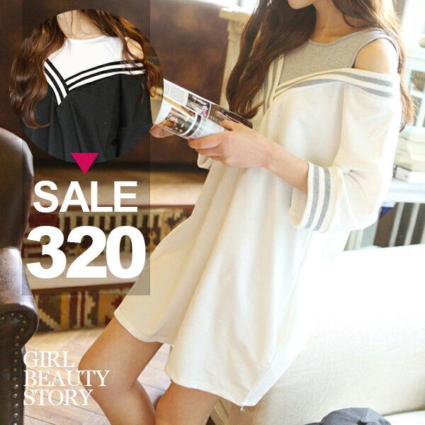 SISI【D6239】韓風學院風條紋一字領假兩件背心露肩長袖連身裙洋裝