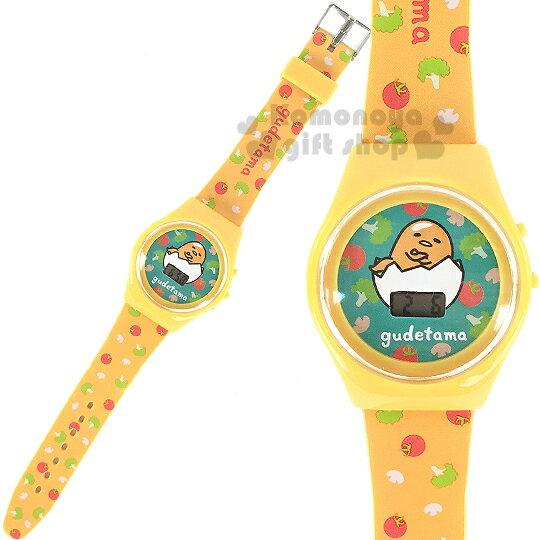 〔小禮堂〕蛋黃哥 兒童電子錶《黃.蔬果滿版》塑膠外殼包裝