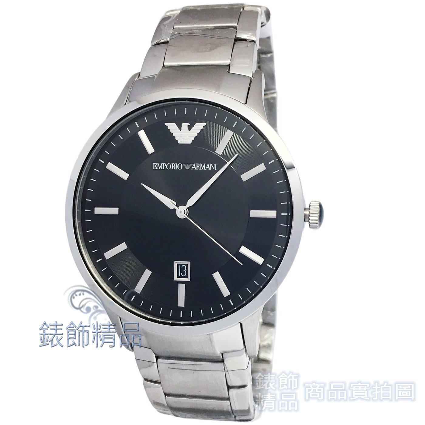 【錶飾精品】ARMANI錶 AR2457 亞曼尼表 都會型男 日期 黑面鋼帶薄型 男錶 原廠正品 禮物