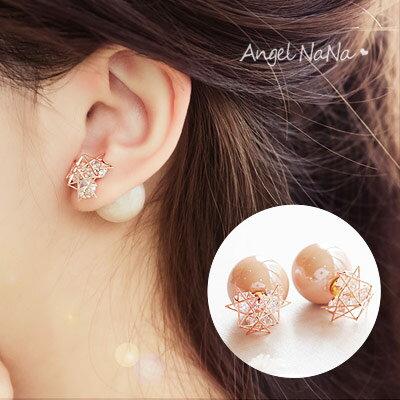 雙面耳環~AngelNaNa 韓 閃亮珍珠 鋯石 微鑲耳環 耳釘~RA0007~