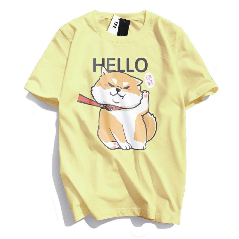KUSO 搞笑 情侶裝 純棉短T MIT台灣製【YC686-17】萌寵 HELLO 你好 柴犬  動物萌寵 快速出貨 5