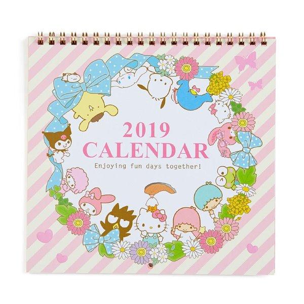 【真愛日本】18090900004日本製線圈掛曆-MX全人物花圈ADG凱蒂貓kitty掛曆月曆2019