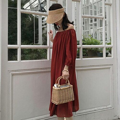 PS Mall 一字領露肩連身裙 七分縮口袖洋裝【T705】 1