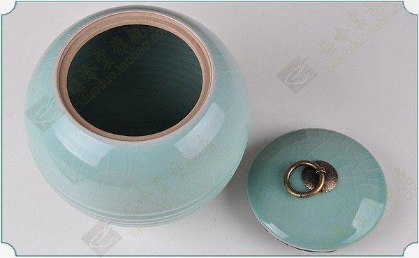 珠寶壇青瓷茶葉罐 陶瓷密封蓋罐 陶罐儲物罐 龍泉哥窯開片