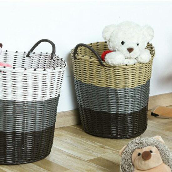 ●MY COLOR●編織軟塑料髒衣籃 髒衣服 收納籃 洗衣籃 籐編 髒衣籃 玩具籃 塑料桶 家用 編織籃【Z102】