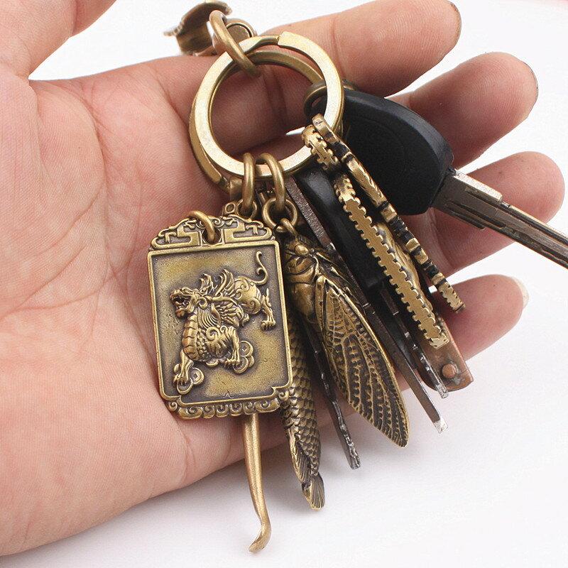 中國風黃銅鑰匙扣掛件吊墜山鬼花錢龍牌齋戒牌汽車手工創意1入