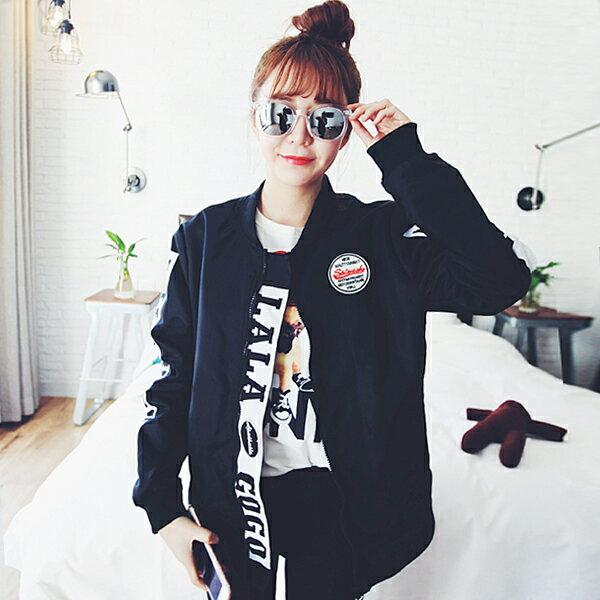 上衣 - 原宿風Let's GO滑面棒球外套【29152】藍色巴黎《2色》現貨 + 預購 1