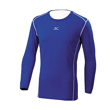 12TA7C0422(深藍)吸汗快乾 抗紫外線 彈性材質 長袖棒球緊身衣 【美津濃MIZUNO】