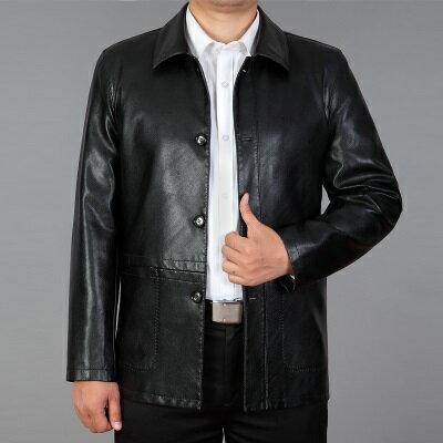 皮衣夾克外套-秋季翻領純色西裝男夾克2色73pn32【獨家進口】【米蘭精品】 0