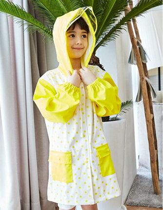 Kocotree◆馬卡龍嫩色可愛滿版圓點大帽沿柔軟加厚兒童雨衣~黃色 ~  好康折扣