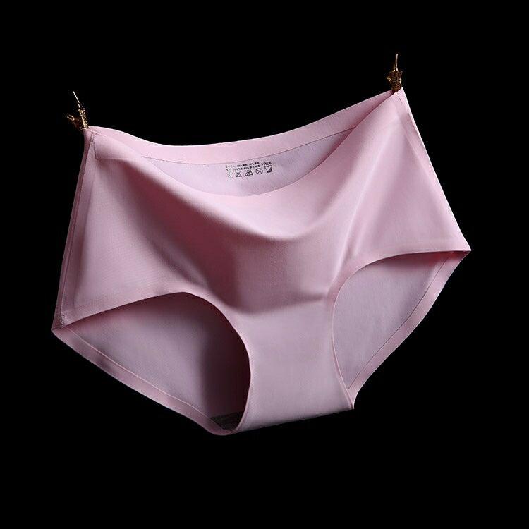 粉 XL冰絲無痕中腰純色性感女仕內褲 中大尺碼 # 一片式