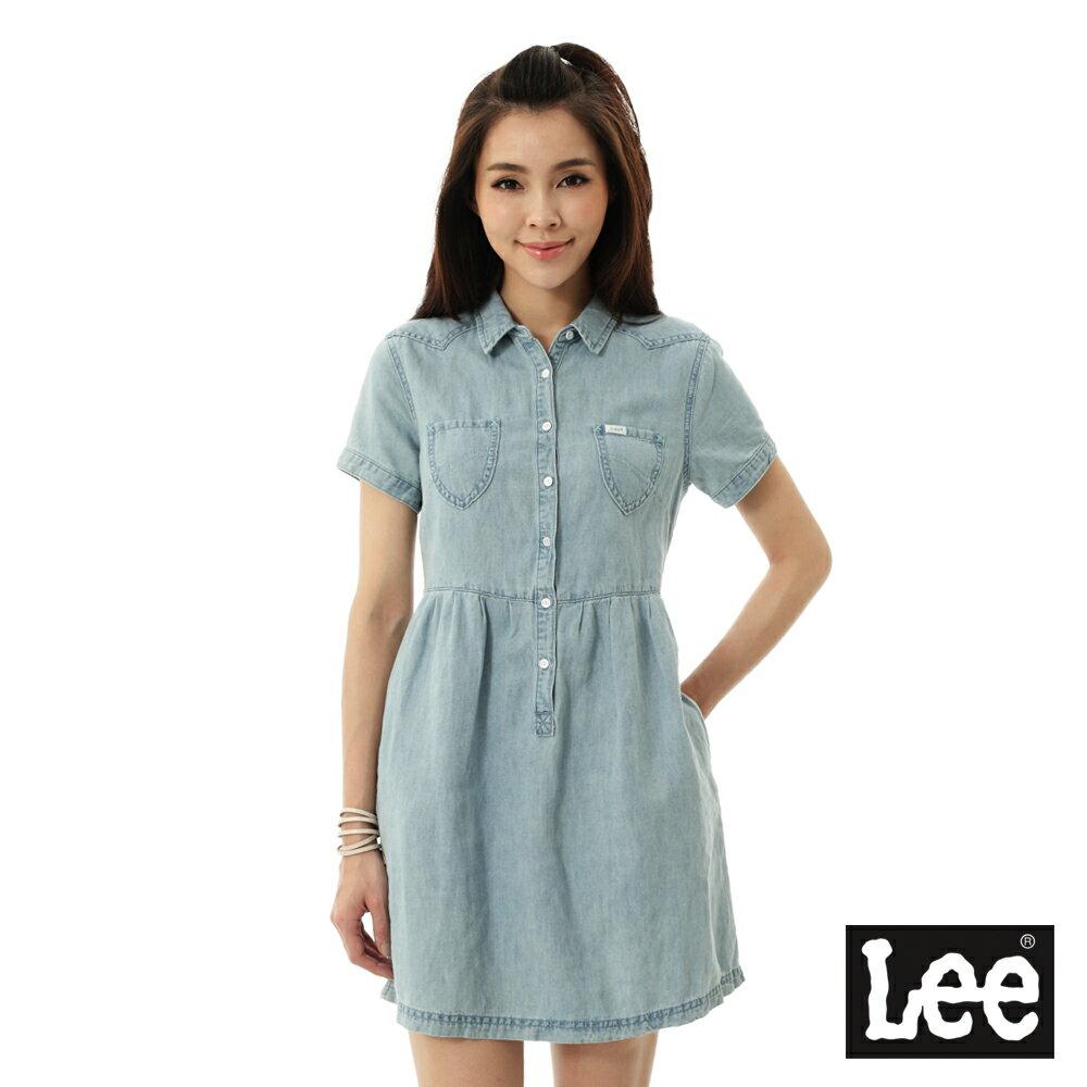 Lee 牛仔短袖洋裝-女-淺藍