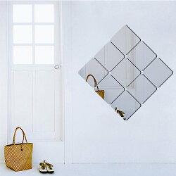 壁貼 飾正方形立體鏡面貼 居家裝飾牆貼【YV7506】HappyLife