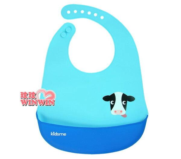 玟玟 (WINWIN) 婦嬰用品百貨名店:Kidsme矽膠圍兜No.120173,軟式防水圍兜,防水、好攜帶