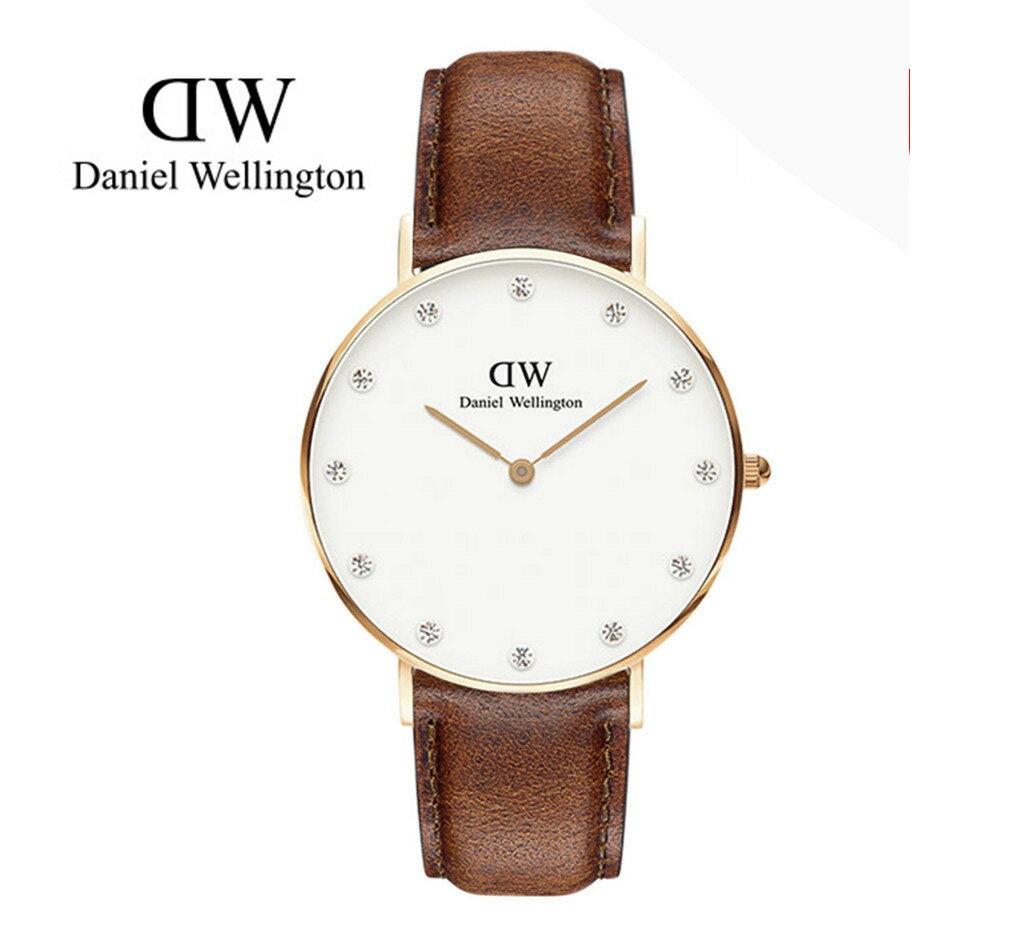 瑞典正品代購 Daniel Wellington 0950DW  玫瑰金鑽  真皮 錶帶 男女錶 手錶腕錶 34MM 0