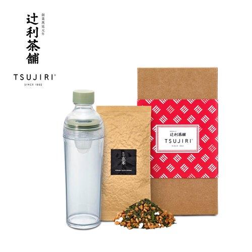 【辻利茶舗 x HARIO】辻光茶道具禮盒 (夜月),波特保冷泡茶壺400ml+松印玄米茶100g。 0