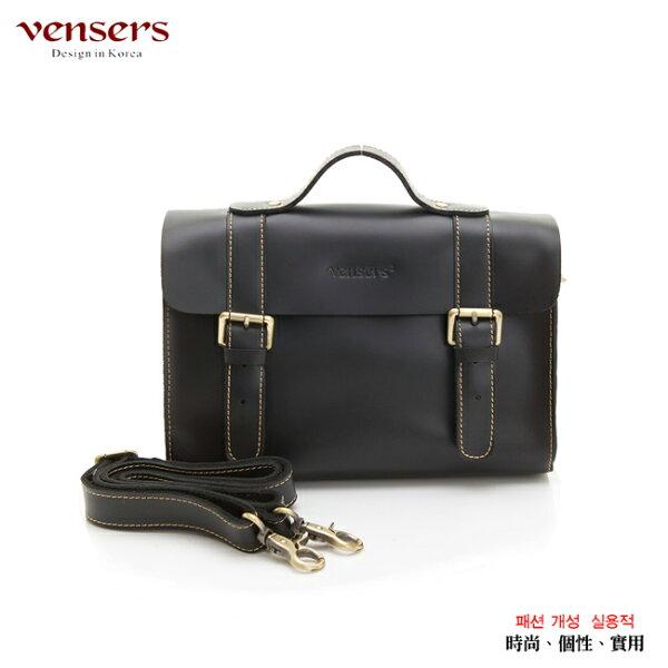 【Vensers】小牛皮潮流個性包~斜肩背包(ND211401黑色光面)