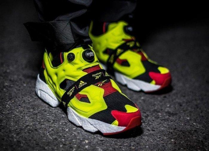 【日本海外代購】REEBOK 愛迪達 PUMP FURY X BOOST 爆米花 充氣 黑白紅 螢光黃 繃帶 慢跑 男女鞋  FW5305