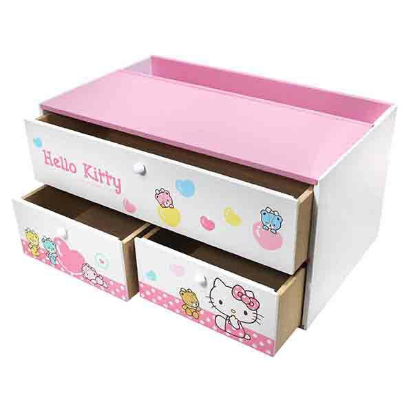 Hello Kitty 小熊橫式3抽收納盒-粉,置物櫃 / 收納櫃 / 收納盒 / 抽屜收納盒 / 木製櫃 / 木製收納櫃 / 收納箱 / 桌上收納盒,X射線【C385600】 1