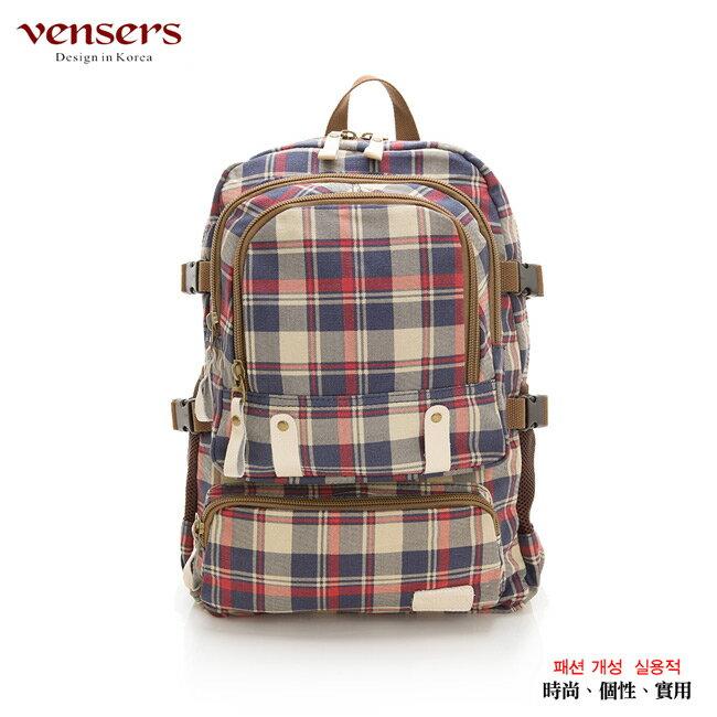 【vensers】韓潮棉麻包系列~後背包(D370101藍紅)