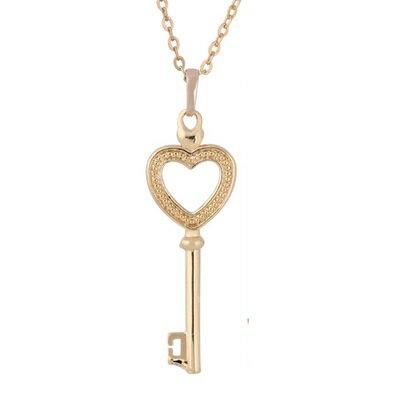 ~純銀項鍊 鍍18K金吊墜~甜美愛心鑰匙迷人七夕情人節 女飾品73cu132~ ~~米蘭