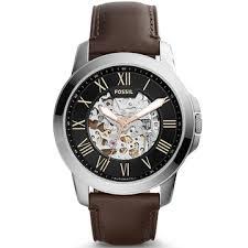 FOSSIL / ME3100 / 歐美經典工業風鏤空機械真皮腕錶 黑x深褐 44mm