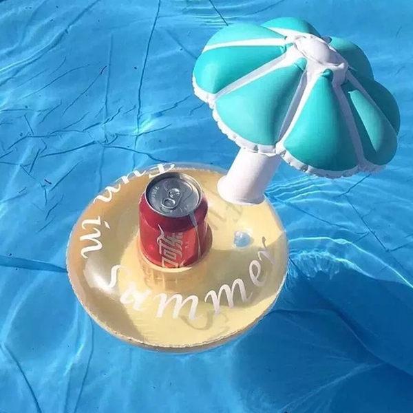 PS Mall 充氣杯架 小傘蘑菇造型充氣式迷你游泳圈杯架 充氣後尺寸約寬25高26cm杯口直徑8CM【J669】