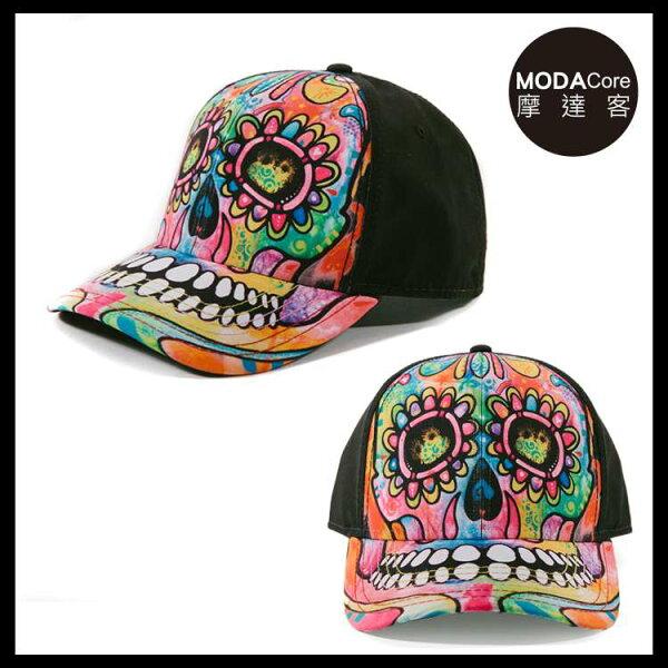 【摩達客】(預購)美國進口TheMountain藝術家DR系列彩繪骷髏頭棒球帽6-Panel六分割帽