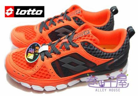 【巷子屋】義大利第一品牌-LOTTO樂得 男款AIR FLOW螢光夜跑鞋 [2028] 螢光橘灰 超值價$690