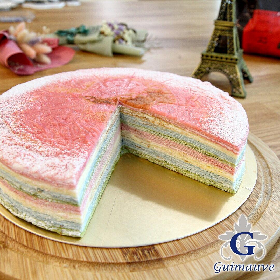 原味彩虹千層蛋糕 9吋 |低糖無色素防腐劑~Guimauve淇慕芙法式手作甜點~