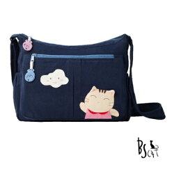 【ABS貝斯貓】貓布包斜側包 可愛貓咪拼布 肩背包 斜揹包(藍色88-210)【威奇包仔通】