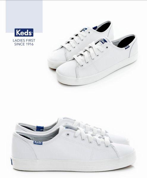 【滿2500再折200▼券號詳見結帳資訊】KEDS -173W132222時尚運動基本綁帶皮質休閒鞋-白 女鞋