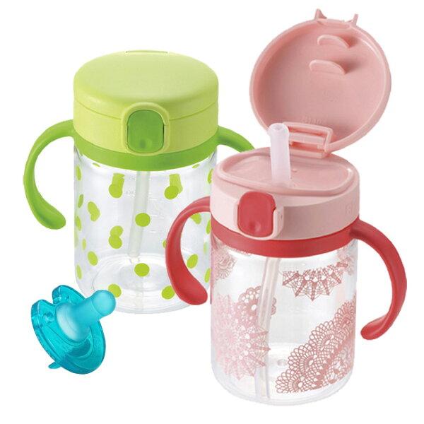 【奇買親子購物網】日本《Richell-利其爾》LC戶外吸管水杯200ml+飛利浦PHILIPS3號奶嘴