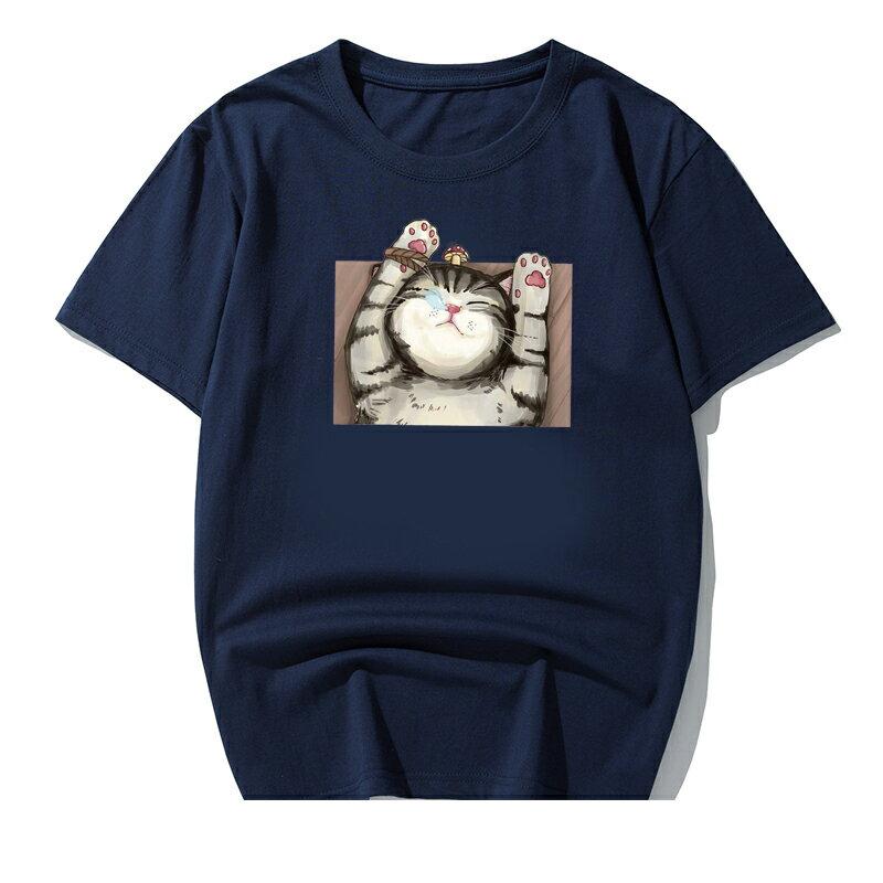 KUSO 搞笑 情侶裝 純棉短T MIT台灣製【YC686-7】短T KUSO睡覺貓 呼嚕貓  動物萌寵 快速出貨 6