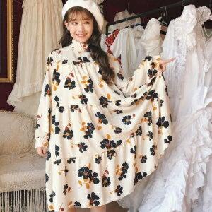 美麗大街【KA11】 韓國東大門新品花朵寬鬆大擺裙中長款立領長袖百搭連衣裙女