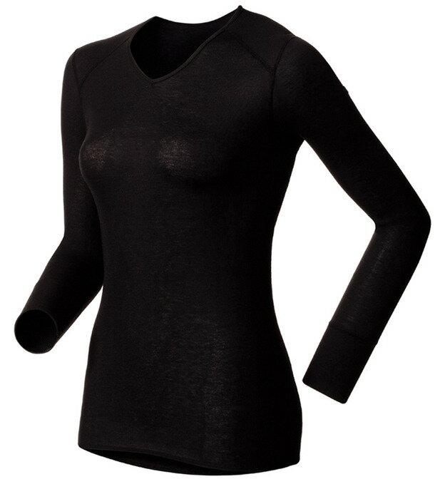 【鄉野情戶外專業】 ODLO |瑞士| 機能保暖型排汗內衣 銀纖維長袖V領排汗內衣 -黑 女款 190881