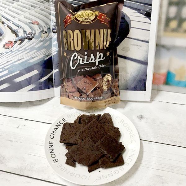 泰國MS.DREAM巧克力布朗尼脆片40g用真正的巧克力布朗尼蛋糕烘乾變成軟餅乾!原本的油膩和熱量直接少了8成!還保留了蛋糕的香味和口感【特價】§異國精品§