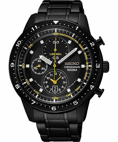 Seiko 7T92-0RD0D(SNDF43P1) 時尚三眼競速計時腕錶/黑面42mm