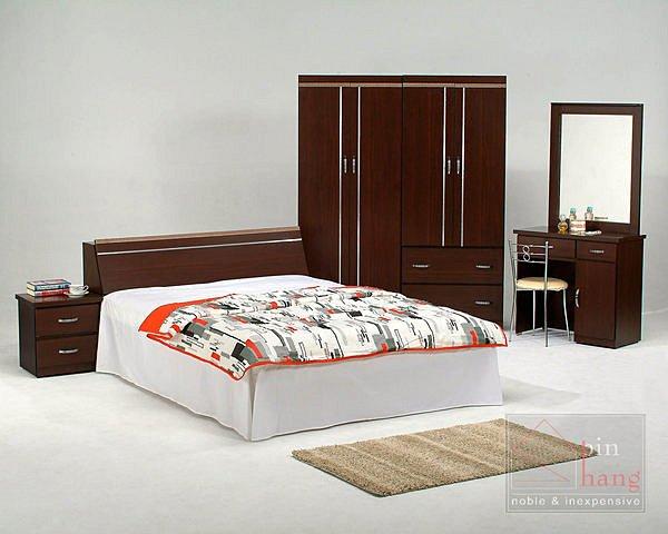 【尚品傢俱】GF-B 羅密歐系列白橡/胡桃5尺房間床組+5尺衣櫃