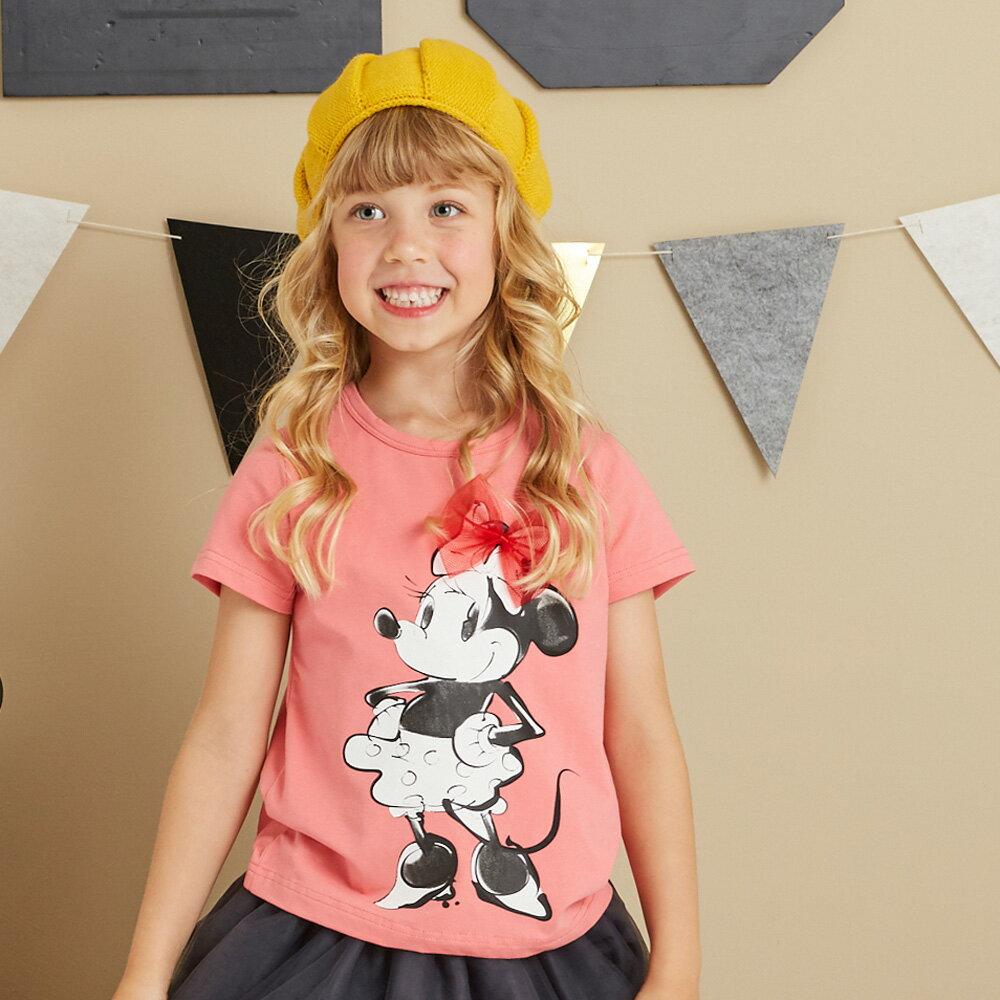 Disney 米妮系列俏麗網紗棉彈上衣-熱情粉 0