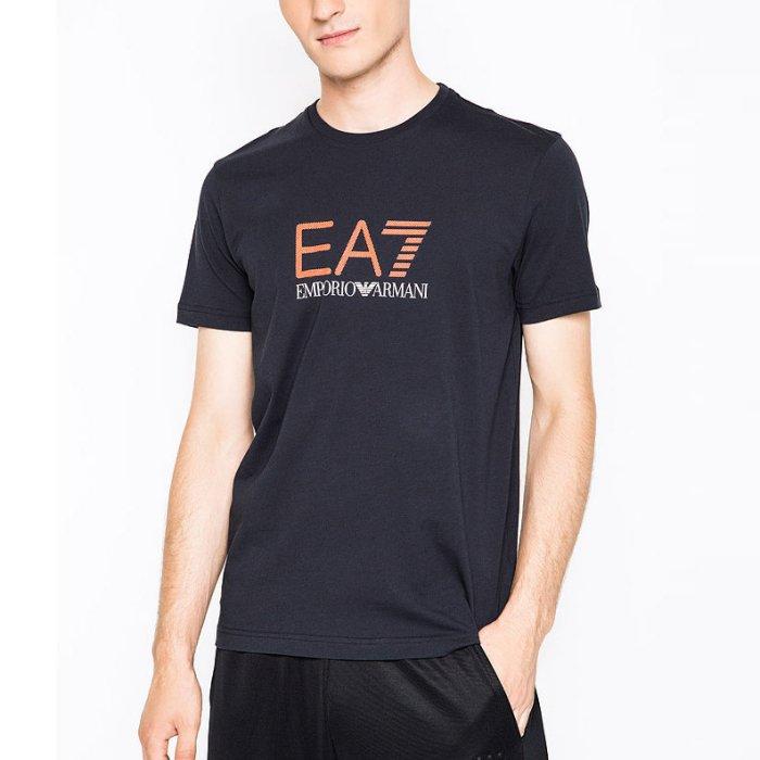 美國百分百【全新真品】Emporio Armani EA7 短袖 T恤 logo T-shirt 深藍 S號 H828
