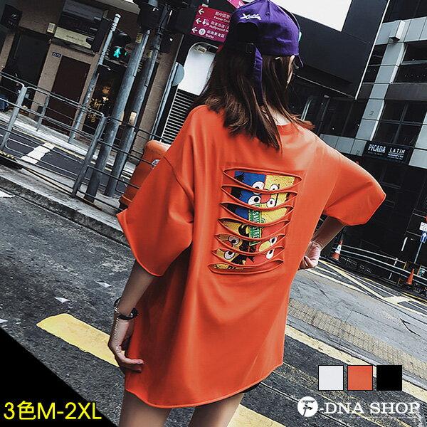 F-DNA★前英字後割破卡通圓領五分袖上衣T恤(3色-M-2XL)【ET12696】