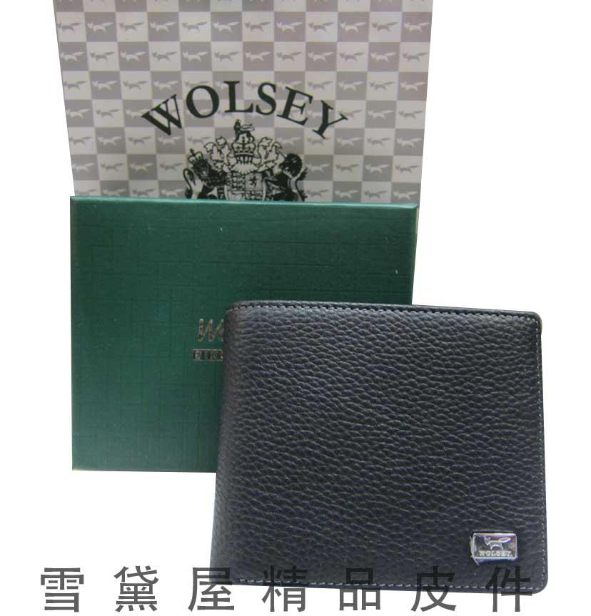 ~雪黛屋~Wolsey 英國專櫃男用短型皮夾 尺寸100% 牛皮固定型證件夾附品牌 品牌提
