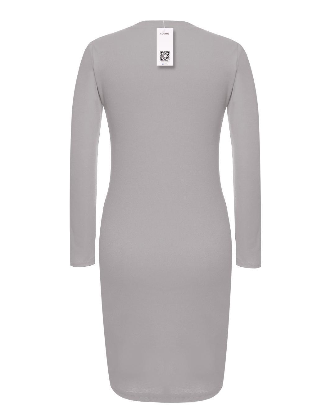 Women Career Long Sleeve Stretch Bodycon Slim Dress 2